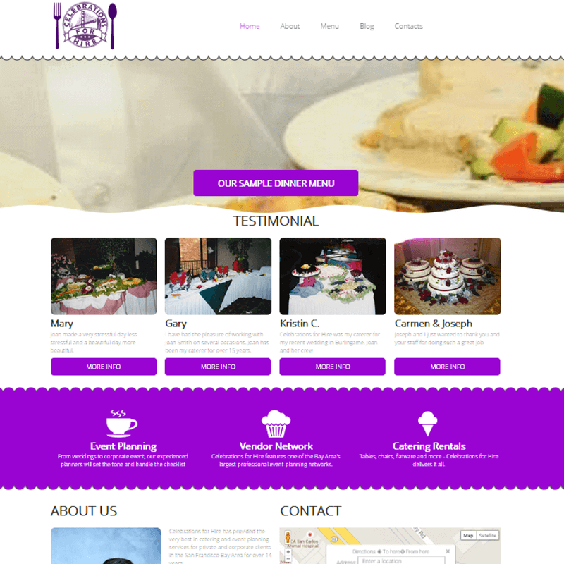 Celebrations for Hire - We created Website
